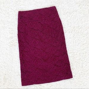 EXPRESS Red Burgundy Maroon Lace Pencil Skirt 4